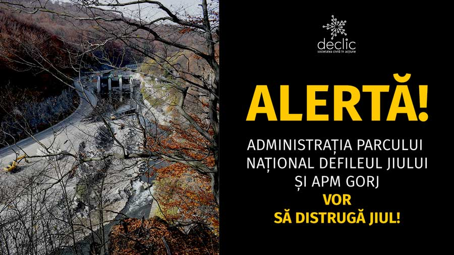 [Alertă] Administrația Parcului Național Defileul Jiului și Agenția pentru Protecția Mediului Gorj vor să sece Jiul!