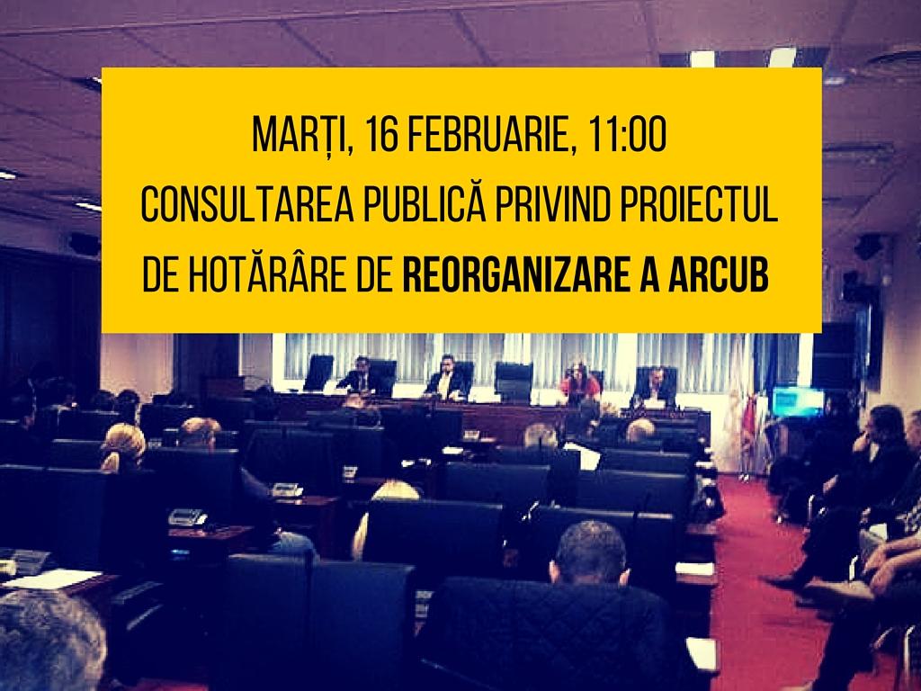 Consultarea publică privind proiectul de hotărâre de reorganizare a ARCUB – marți, 16 februarie!