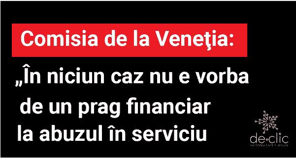 Comisia de la Veneţia despre pragul valoric pentru abuz