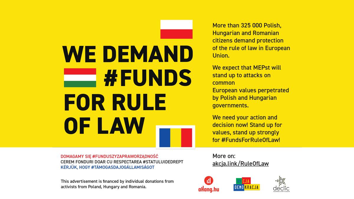 Coaliție civică internațională: ONG-uri din Polonia, Ungaria și România cer P.E. condiționarea acordării fondurilor europene de respectarea statului de drept